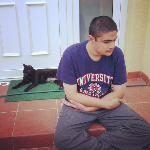 Karan and the cat